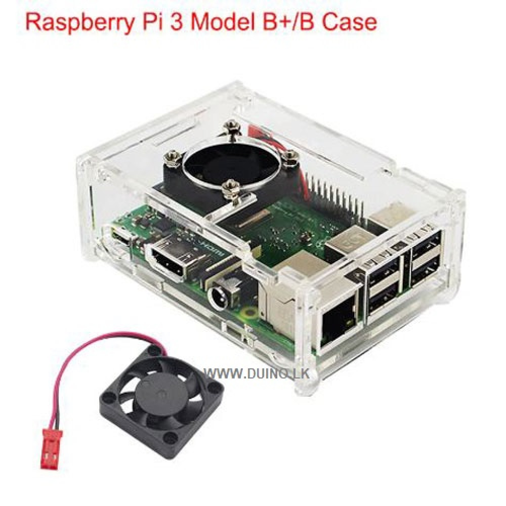 Raspberry Pi 3 Acrylic Case Transparent Box Cover Shell with Cooling Fan