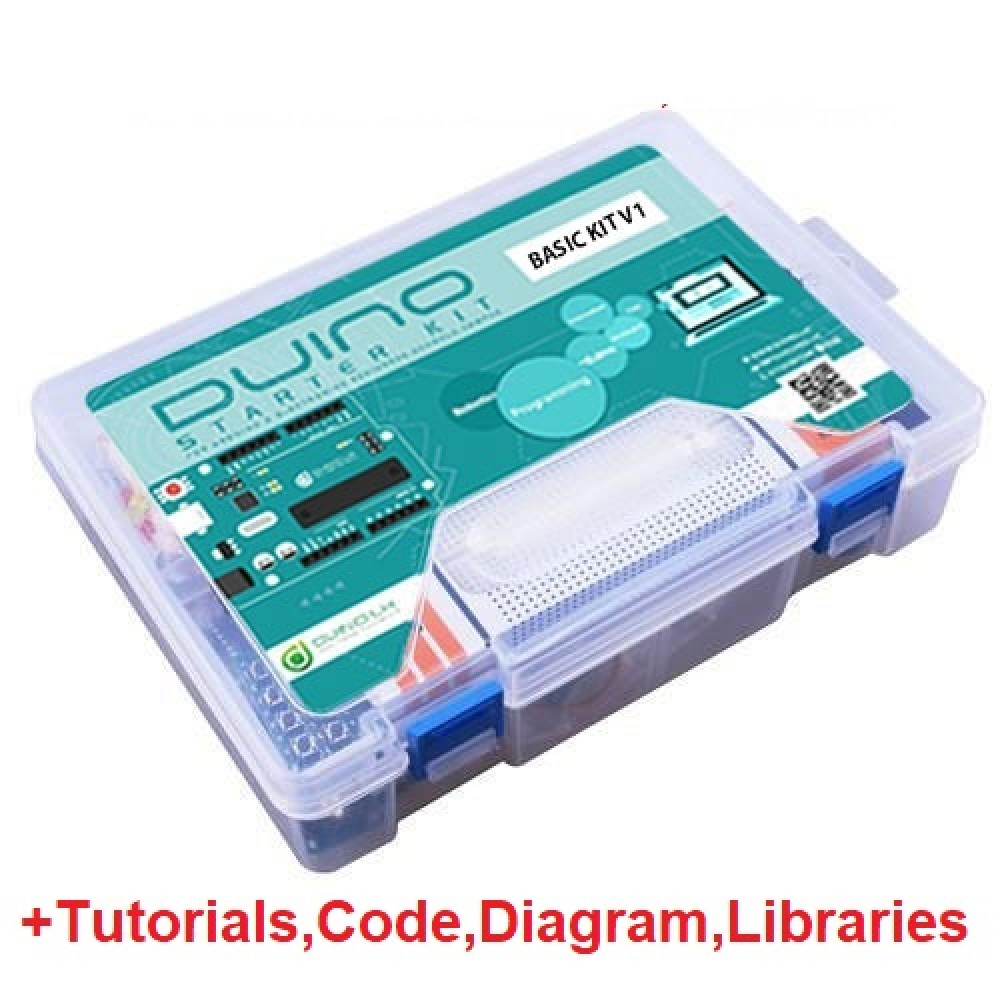 Duino Basic Starter Kit V1 For Arduino Beginners + Tutorial,Code,Diagram,Libraries