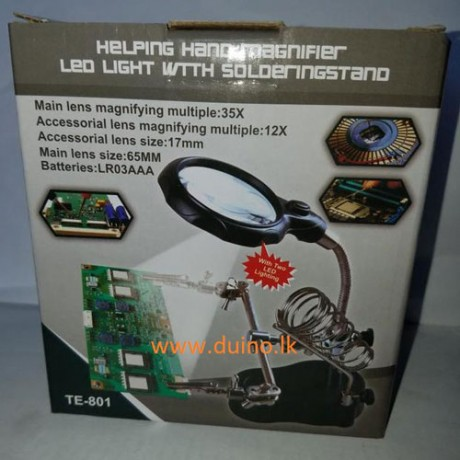Adjustable 3.5X 12X Helping Hand Clip LED Light Magnifying Glass