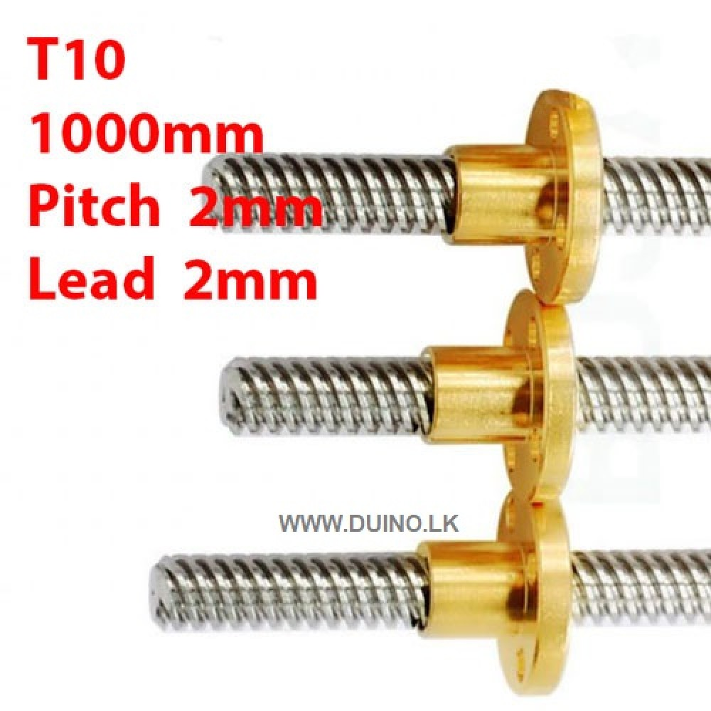 1000mm 10mm Lead Screw Length 1000mm Pitch 2mm Lead 2mm *1Pcs With 1 Brass Nuts
