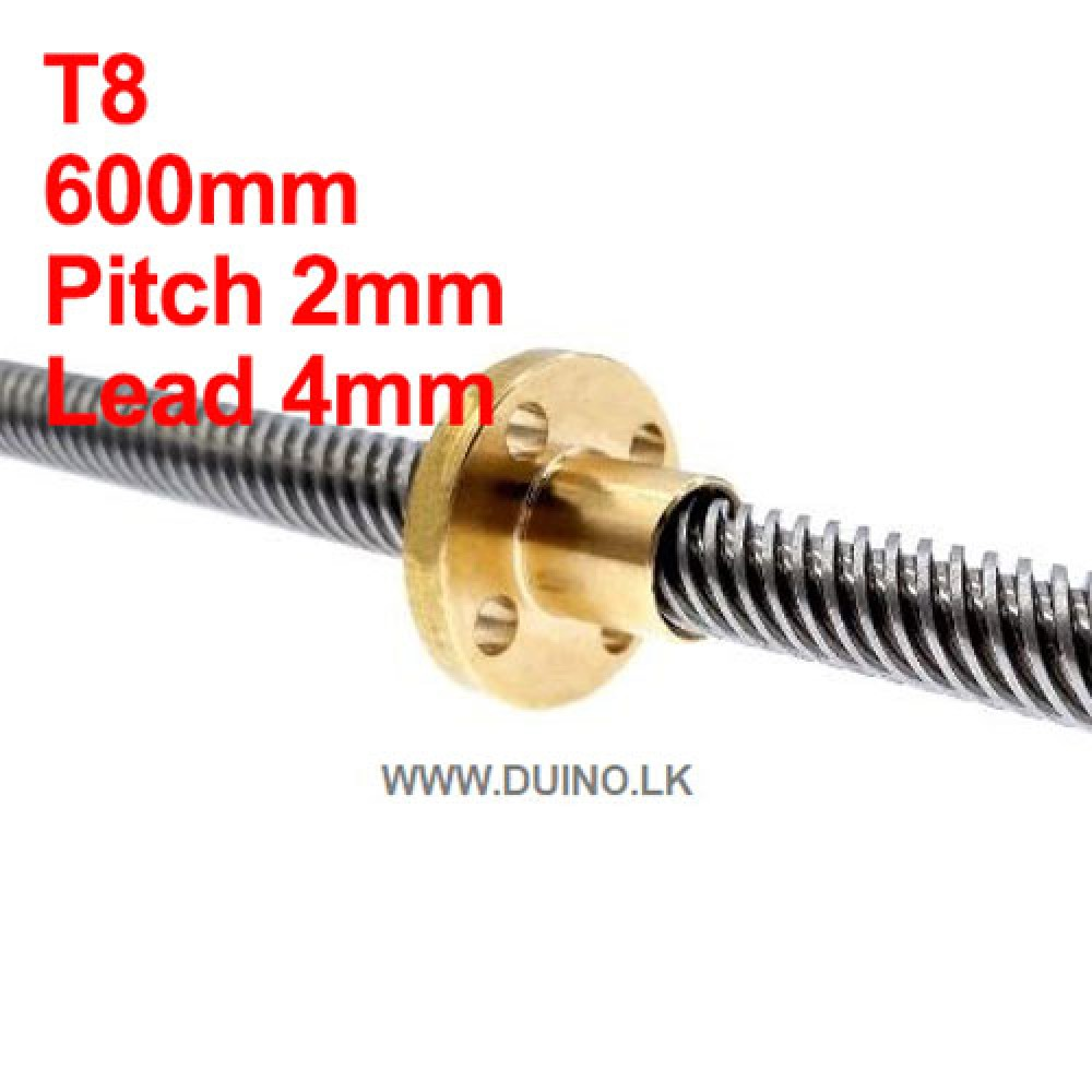 600mm 8mm Lead Screw Length 600mm Pitch 2mm Lead 4mm *1Pcs With 1 Brass Nut