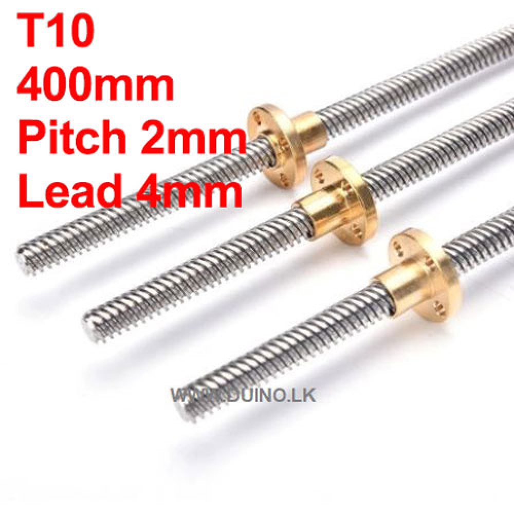 400mm 10mm Lead Screw Length 400mm Pitch 2mm Lead 4mm *1Pcs With 1 Brass Nuts