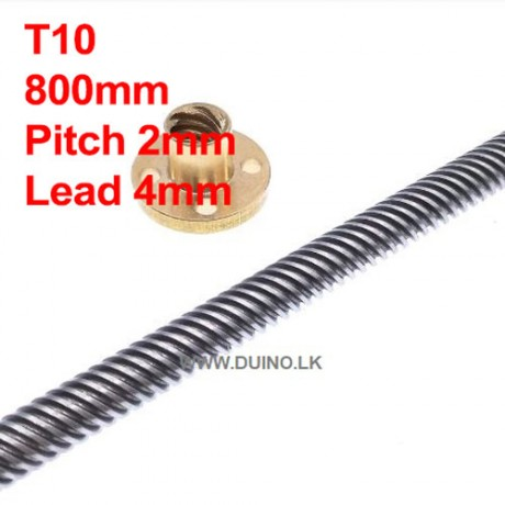 800mm 10mm Lead Screw Length 800mm Pitch 2mm Lead 4mm *1Pcs With 1 Brass Nuts