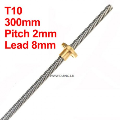 300mm 10mm Lead Screw Length 300mm Pitch 2mm Lead 8mm *1Pcs With 1 Brass Nuts