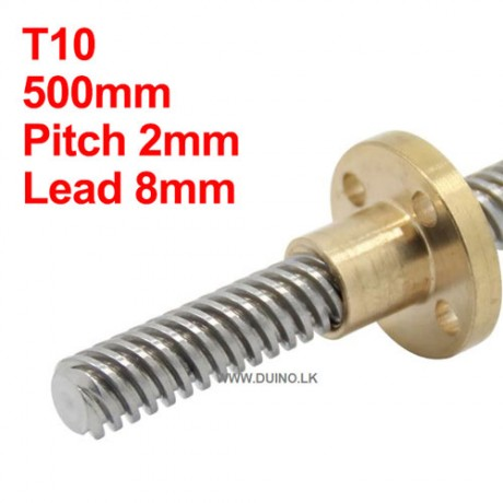 500mm 10mm Lead Screw Length 500mm Pitch 2mm Lead 8mm *1Pcs With 1 Brass Nuts