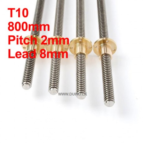 800mm 10mm Lead Screw Length 800mm Pitch 2mm Lead 8mm *1Pcs With 1 Brass Nuts