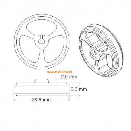 D-hole Rubber Wheel Suitable for N20 Motor