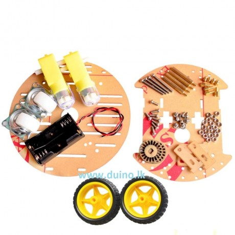 2WD Mini Round Double-Deck Smart Robot Car Chassis DIY Kit